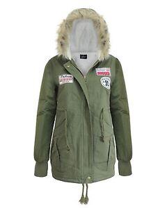 16 8 12 verde 10 sintᄄᆭtica mujer para militar 14 con de parches de Parkas Escudo chaqueta de capucha piel U6ZO4wqATW