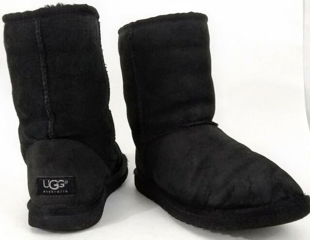 e48877a247e UGG Australia Womens Black Classic Short Suede Boots Sheepskin Fleece Lined  US 6