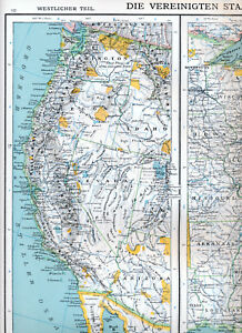 USA West & East 1900 orig. atlas map Boston New Orleans California New Orleans On Us Map on