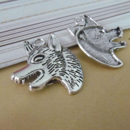 5x Tibetan Silver Wolf head Pendant Necklace Charms DIY Jewelry Accessories //774