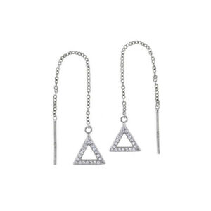 Womens-925-Sterling-Silver-Cubic-Zirconia-Triangle-Threader-Earrings