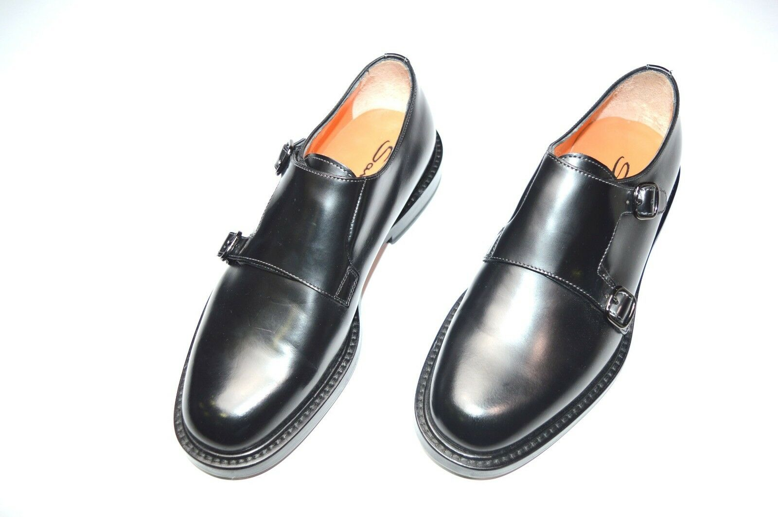 NEW SANTONI Dress Leather schuhe Monk Strap Größe Eu 42.5 Uk 8.5 Us 9.5 (R35)
