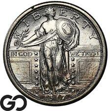1917 Standing Liberty Quarter, Type 1, Full Head, Lustrous Near Gem BU++ FH