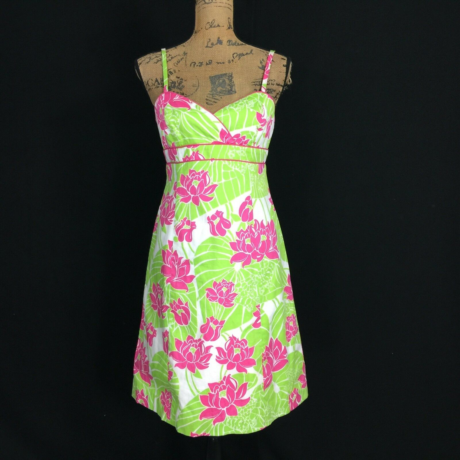 Lilly Pulitzer Dress 4 Sm S White Pink Green Floral Lotus Tropical Empire A Line