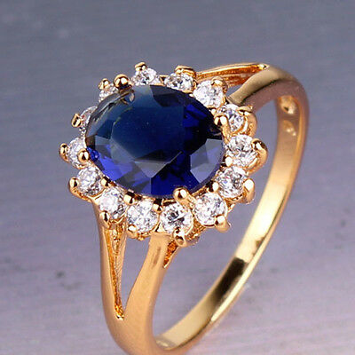 Luxury smart design 24k gold filled sapphire eye-catching woman ring SzJ-SzR