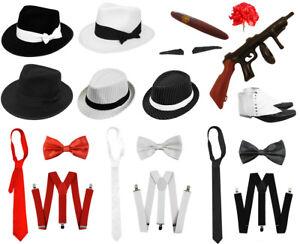 Mens Fancy Dress Blues Brothers Hat Tie Braces Gangster 1920/'s Inflatable Gun