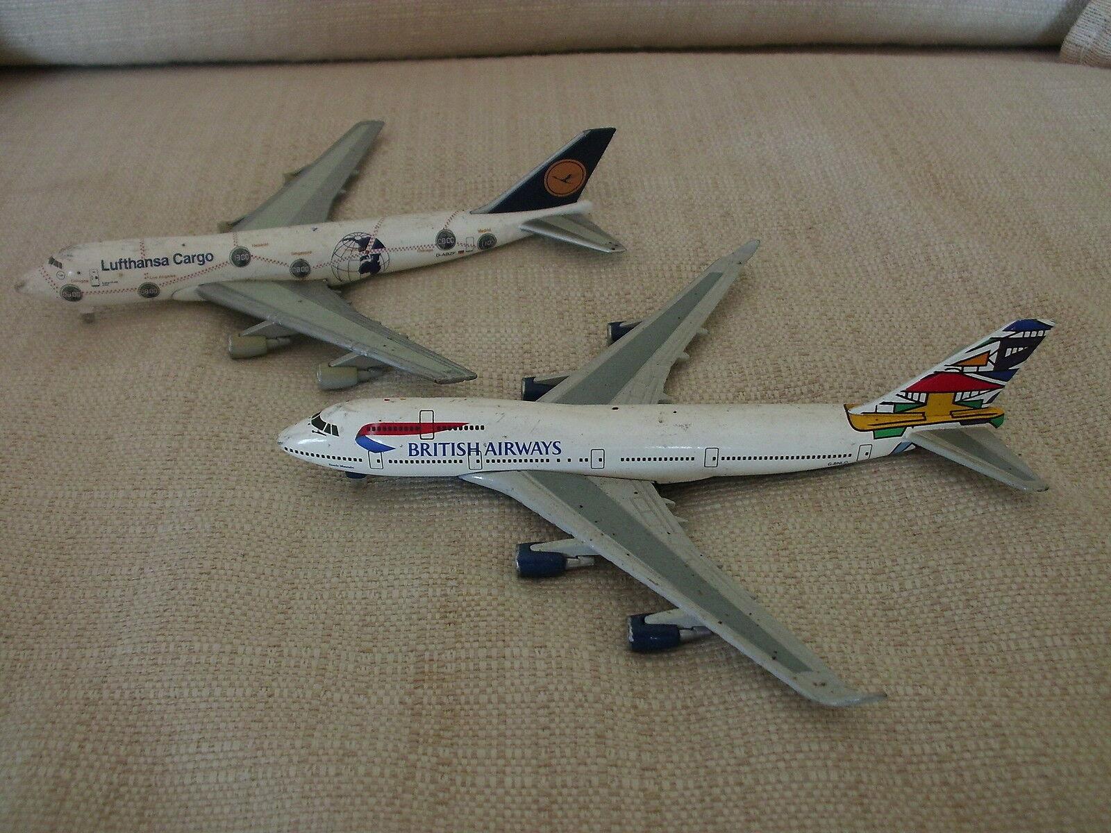 DUE MODELLINI IN METALLO AEROPLANI BRITSH AIRWAYS E LUFTHANSA CARGO D-ABZF