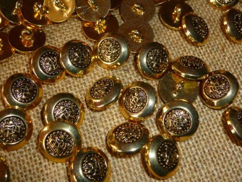 MB21C 50 x Gold Metal Look Plain Edge Centre Symbol 18mm Shank Back Buttons
