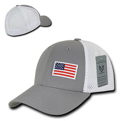 2b0c43a3c9a Gray USA US American Flag Low Crown Structured Mesh Flex Baseball ...