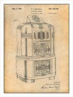 1940 Rockola Jukebox Patent Print Art Drawing Poster 18x24