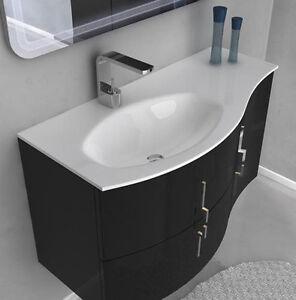 Mobile bagno cm 104 in 4 colori per arredo moderno sospeso curvo 2 versioni 65 ebay - Mobile bagno curvo ...