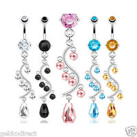 Surgical Steel Prong Set CZ Gem Belly Bar / Navel Ring with Bead Vine Dangle