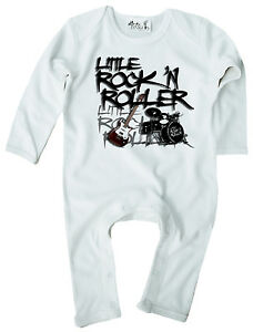 Baby-Rock-Romper-Suit-034-Little-Rock-039-N-Roller-034-Guitar-Drums-Band-Rock-Music