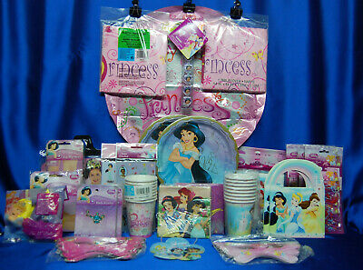Belle Princesses Party Set # 12 Plates Napkins Tablecover Invites Hats Balloons