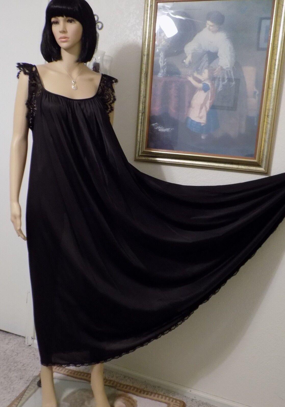 Lucie Ann Beverly Hills Vintage nylon Antron Neuf Avec Étiquettes schwarz Chemise De Nuit Größe L Large