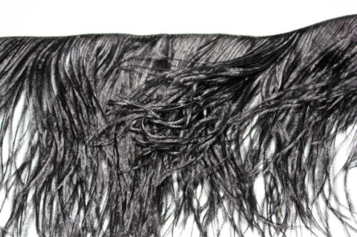 One metre black 2 ply ostrich ostrich feather fringe top fashion fringe