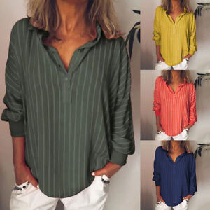 Womens-Casual-Striped-V-Neck-Blouses-Loose-Baggy-Tops-Tunic-Casual-T-Shirts-BY