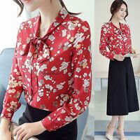Women Elegant Floral Printed Big Bow Collar Chiffon Blouse Career OL Shirt Tops