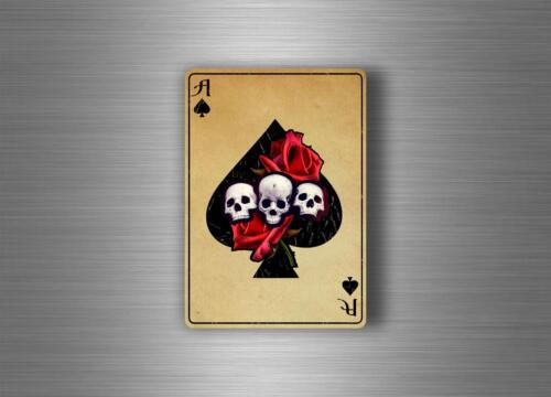 Sticker car motorcycle skull ace of spade playing cards biker jdm gun macbook r2