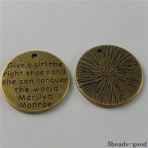50842 Antique Bronze Alliage Monroe les mots Charms Pendants Crafts Findings 5pcs