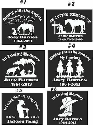 IN LOVING MEMORY CAR WINDOW DECAL.....COWBOY THEMED