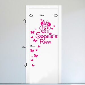 Minnie-Mouse-Personalised-Name-Door-Wall-art-sticker-Decal-Girls-Bedroom