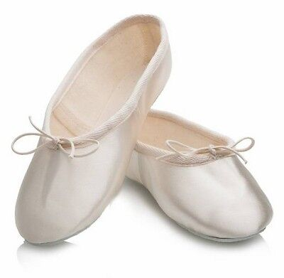 Katz Dancewear Marfil Satinado Suela De Goma Zapato De Ballet/Dama de honor-Reino Unido 1 1/2 #28L469