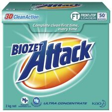 NEW Biozet Attack High-Performance Low Suds Front Top Loader Laundry Powder 2Kg