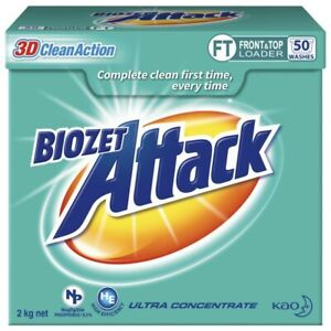 Biozet Attack High-Performance Low Suds Front Top Loader Laundry Powder 2Kg