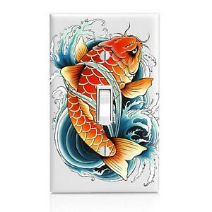 Colored Koi Wall Plate Toggle Decor Switch Plate Cover