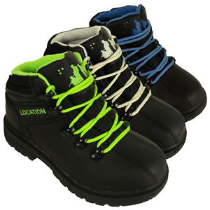 Kids Boys Leather School Shoes Hiker Ankle Boots Black Casual Boot Lace Up Shoe