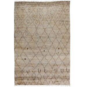 Tribal-Geometric-Moroccan-Wool-Hand-Knotted-Oriental-Area-Rug-Plush-Carpet-10x14