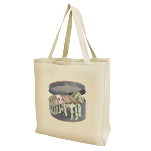 English Bulldog Puppy Dog Sleeping Hatbox Box Grocery Travel Reusable Tote Bag