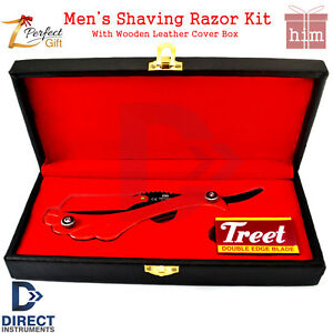 Quality-Men-039-s-Shaving-Products-Hair-Shaver-Folding-Knife-Blades-PU-Leather-Box