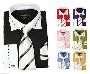 Men-039-s-High-Quality-Fashion-Dress-Shirt-With-Tie-And-Hanky-French-Cuff-AH621