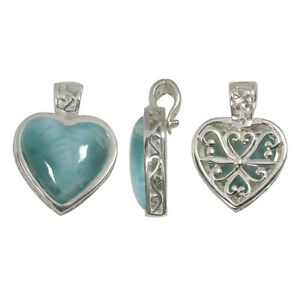 Sterling silver filigree bail back side heart shape larimar image is loading sterling silver filigree bail back side heart shape aloadofball Image collections