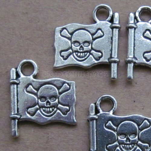 20pc Charms 2-Sided Skull Pirate Jolly Roger Bead Findings Tibetan Silver SA0146