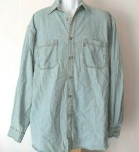vtg-CHAMBRAY-BLUE-LEVI-039-S-Levi-Strauss-Denim-Red-tag-Men-039-s-Long-Sleeve-Shirt-L