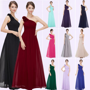 c949430454e Image is loading Ever-Pretty-One-Shoulder-Bridesmaid-Dresses-Long-Prom-