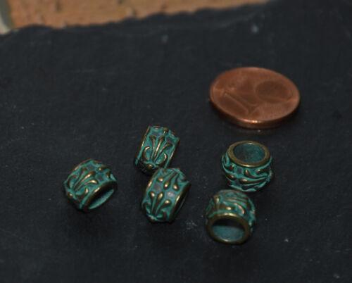Perles Beads 6x9mm trou 5 mm 2 pièces NEUF
