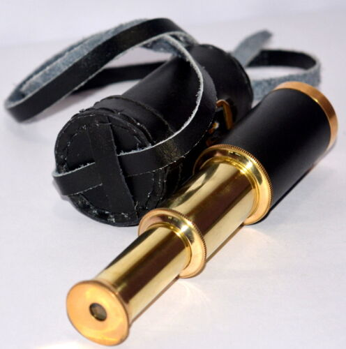 VINTAGE MERITIME 6/'/' PIRATES SPYGLASS STYLE BRASS TELESCOPE WITH LEATHER COVER