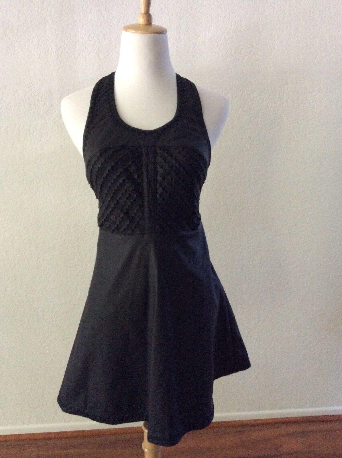 NWT Free People schwarz Vegan Pleather Racerback Sleeveless Cutout Dress Größe 0 XS