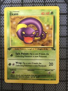 Excellent Condition Fossil Set 1st Edition Pokemon Card Ekans 46//62