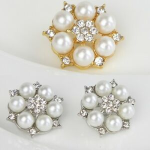 2/5Pcs Clear Crystal Rhinestone Faux Pearl Silver Gold Alloy Shank Bridal Button