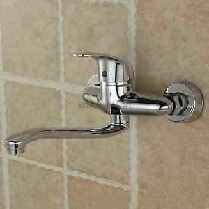 Long Swivel Spout Kitchen Faucet Laundry Balcony Sink Mixer Tap Wall