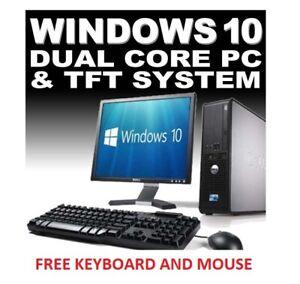 Complet-Dell-HP-Dual-Core-Ordinateur-De-Bureau-Tour-Pc-amp-TFT-systeme-informatique-windows-10-amp-4