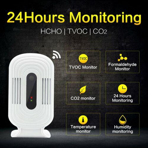 WIFI Home Smog Meter HCHO//TVOC//CO2 Gas Tester Detector Air Quality Monitor DC