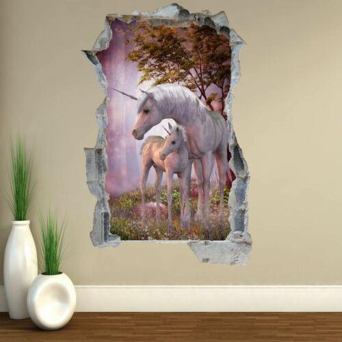Unicorn Fairy Tale Fantasy Forest 3D Wall Sticker Art Mural Wallpaper Poster A2
