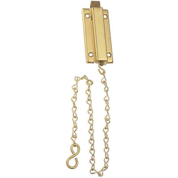 20 Pk Steel Brass Finish 1 5  W X  3  L Spring Loaded Door Chain Bolt N155762