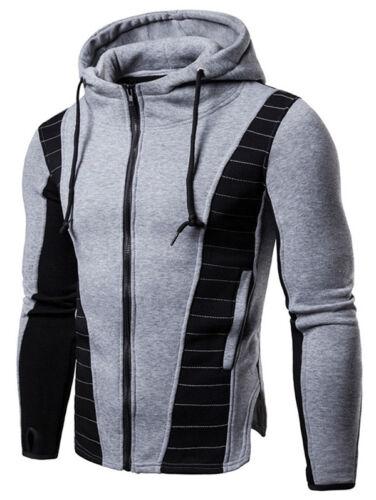 Men/'s Drawstring Zip Up Color Block Hoodie Jacket Sweatshirt Coat Winter Outwear